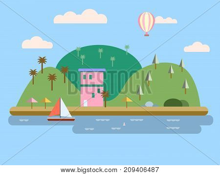 Islands, green hills, blue skies, water, trees, balloons, boat sails, home white cloud Modern flat design background design element