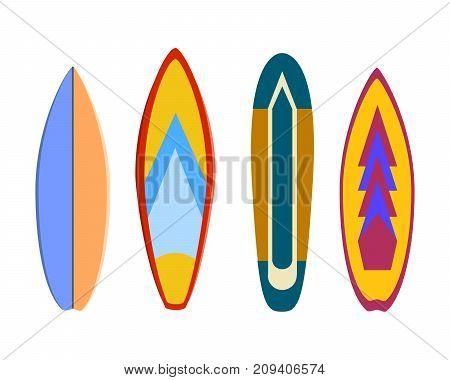 modern colorful surfboard set on white background illustration