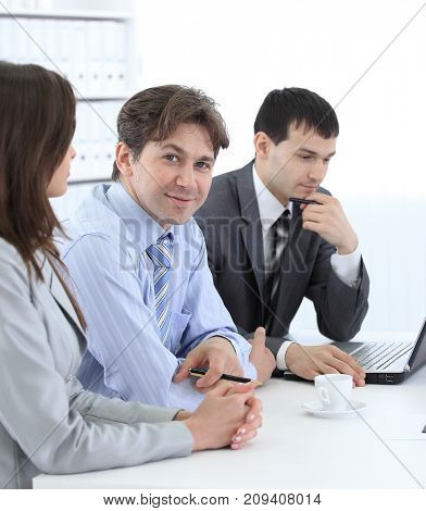 head of business team sitting at Desk
