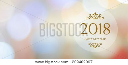 Happy New Year 2018 on blur abstract bokeh background new year greeting card banner with copy space for text