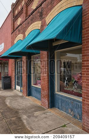 January 2, 2016 Elgin Texas USA: victorian style brick building in the historic commercial town center