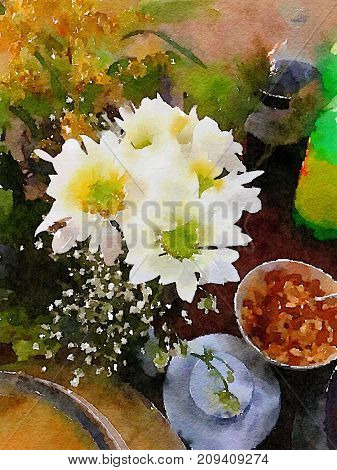 Nice watercolor of a table setting with white flowers