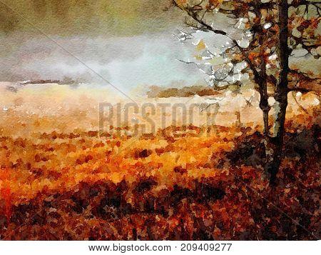 Beautiful Watercolor Painting of yosemite Valley