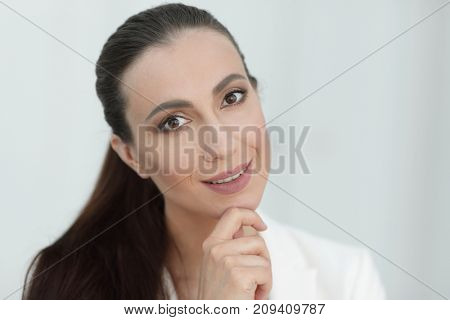 closeup portrait of a dreaming business woman