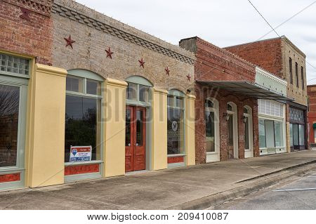 January 2, 2016 Elgin Texas USA: victorian style buildings in the historic commercial town center
