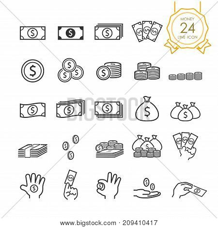 Set of banknote coin money bag and money in hand line icon for website infographic or business simple symbol. Vector illustration (Editable Stroke)