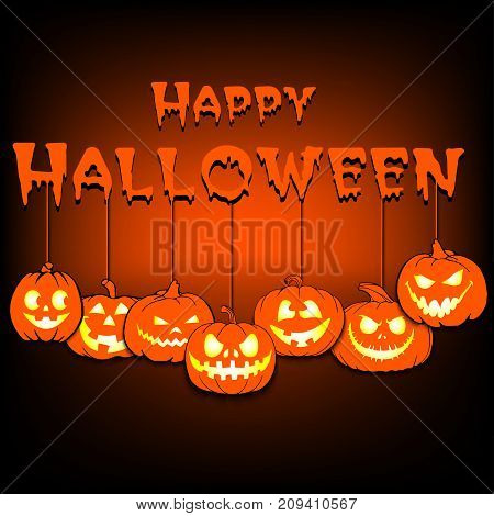 Happy Halloween And Pumpkins Hanging On Ropes