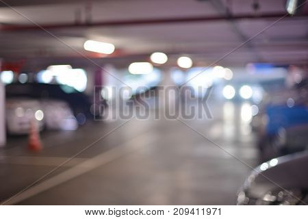 Abstract Blurry Background Of Parking Lots In Shopping Mall