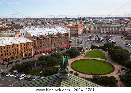 Saint Isaac's square from St.Isaac's Cathedral in St. Petersburg, Russia.