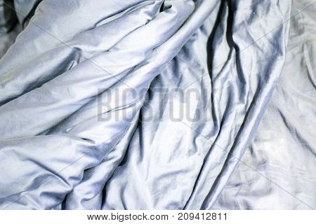 Blue Gray Wrinkled Cotton Cloth Background