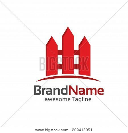 fence creative  symbol concept, Home and garden decoration logo