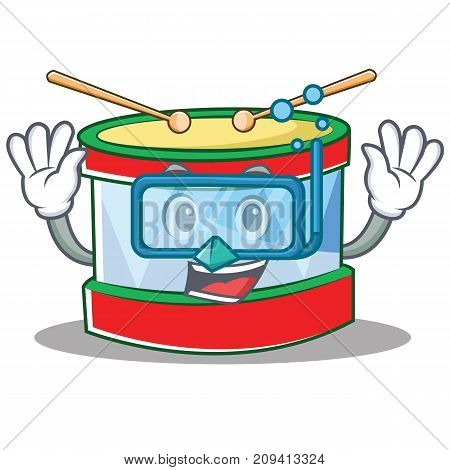 Diving toy drum character cartoon vector illustration