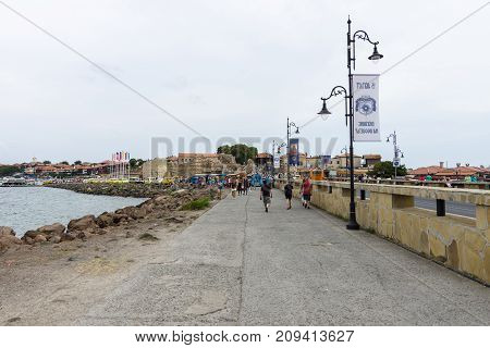 NESEBAR BULGARIA - AUGUST 21 2017: Embankment in the old town. Nesebar is an ancient city and one of the major seaside resorts on the Bulgarian Black Sea Coast.