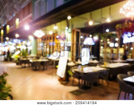 Image of abstract blur restaurant with people. Restaurant with customer for background usage
