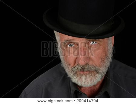 Very Nice Image Of a Middle aged man on Black with Bowler Hat