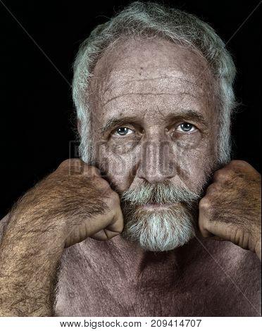 Nice Sincere portrait of a Elderly man on Black