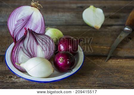Onions In Rustic Style. Fresh Organic Raw Onion