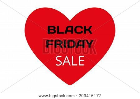 Red heart with words - black Friday and sale on white background vector