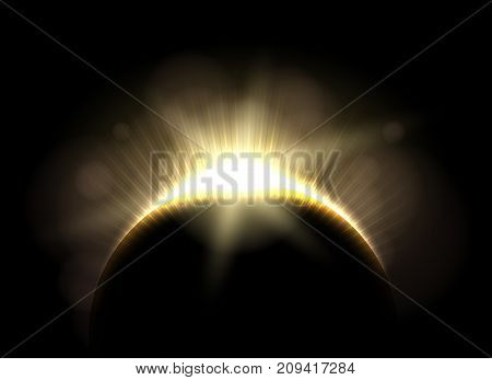 Beautiful astronomic solar moon eclipse, lunar earth total dark astronomical corona vector illustration