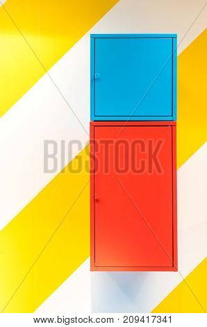 Colorful Metal Cabinets Hanging On Wall