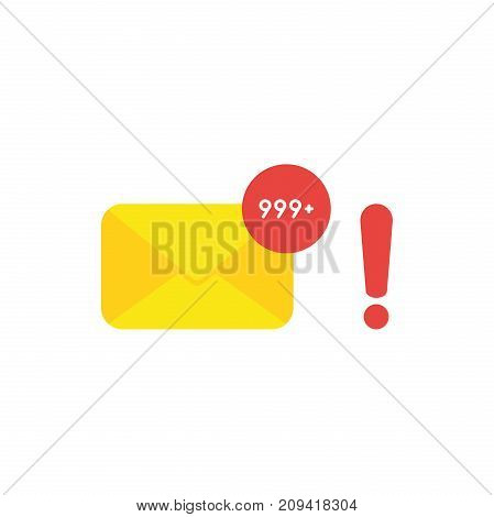 Flat design style vector illustration concept of yellow closed envelope email symbol icon and lot of junk spam emails with red exclamation mark on white background.