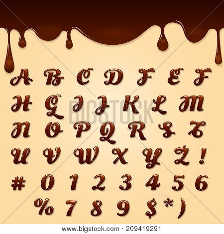 Chocolate made vector text. Shaped brown dessert gel font, latin flowing melted liquid text
