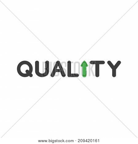 Flat Design Style Vector Concept Of Quality With Arrow Moving Up