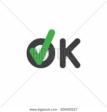 Flat design style vector illustration concept of ok word text with green check mark symbol icon on white background.