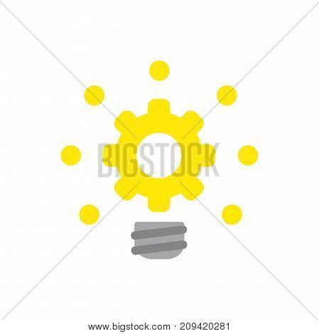 Flat Design Style Vector Concept Of Gear Light Bulb