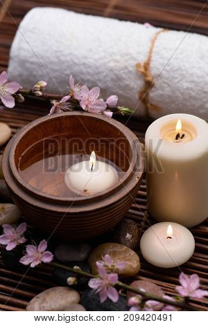 blossom pink branch cherry in aroma spa set on mat background