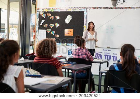 Female teacher taking elementary school class