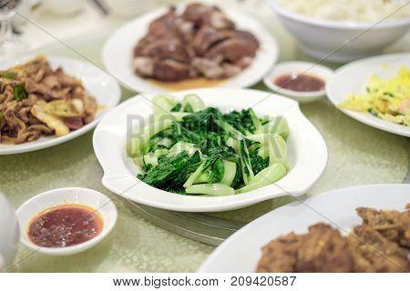 Green Stir-fried ,cantonese vegetable hong kong food