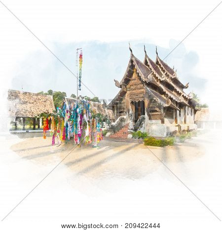 Lanna wood sanctuary in the temple (public place) with blue sky. Watercolor painting (retouch).