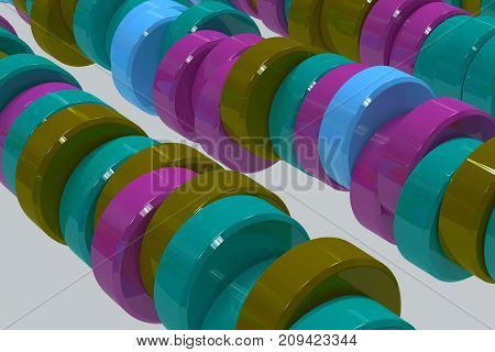 Pattern Of Blue, Violet And Green Cylinder Tablets On White Background