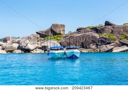 Sailing yacht on andaman sea at Mu Koh Surin Nation Park Phangnga Province Thailand
