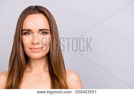 So Cute And Pure!  Close Up Portrait Of Pretty Charming Model, Clear Skin, So Sensual, Smooth, Adora