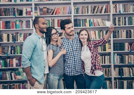 Four International Students With Beaming Smiles Are Posing For Selfie Photo, Caucasian Attractive La