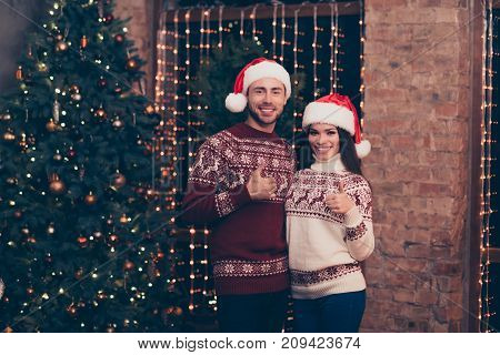 Excited Husband And Wife Bonding, In Knitted Cute Traditional X Mas Costumes With Ornament, Headwear