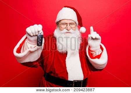 Funny Aged Grandfather In Red Traditional Outfit And Headwear. X Mas Noel Surprise Time! Success, Ha