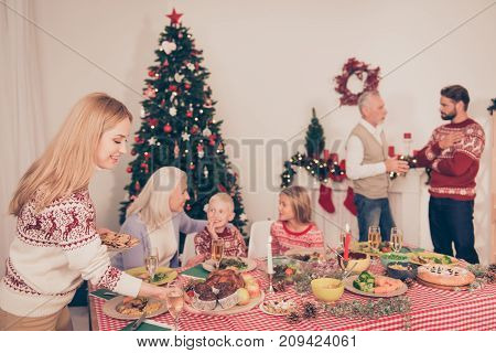 Six Cheerful Relatives, Focus Of Blond Mum Serving Sweet Desserts On Setted Festive Desktop, Full Of