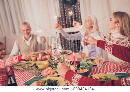 X Mas Miracle, Holy Spirit! Cheerful Relatives Sit And Celebrate Christmastime With Setted Festive D