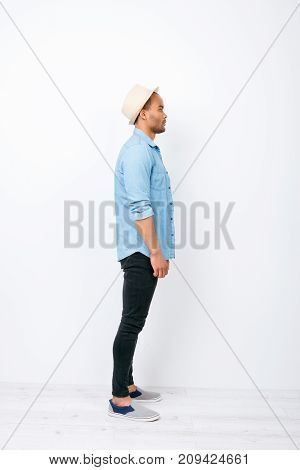 Side Profile Full Size Shot Of Successful Handsome Mulatto American Student In Trendy Denim Outfit O