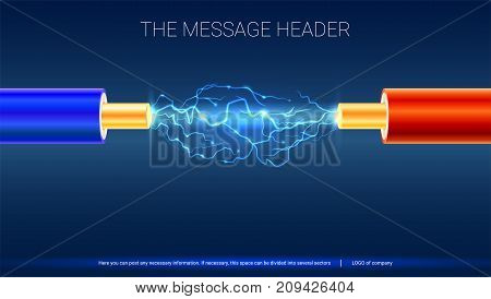 Electric cable with sparks. Horizontal design for presentation, posters, cover art, banners or advertising. Copper electrical cable in colored insulation and electrical arc between the wires