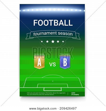Poster template of Football championship. Night football stadium with the spotlights. Soccer cup advertising. Sport event announcement. Cover art of A4 size.