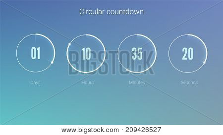 Part of the User interface, circular clock. Clock application, UI elements. Design of countdown timer for coming soon or under construction action. Template of count days, hours, minutes and seconds