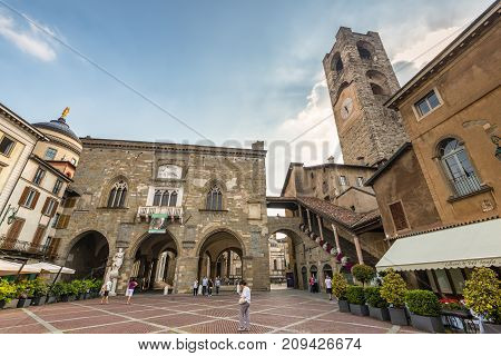 Bergamo Italy - May 27 2016: Wide-angle view of the main city square Piazza Vecchia in Bergamo old town Italy.