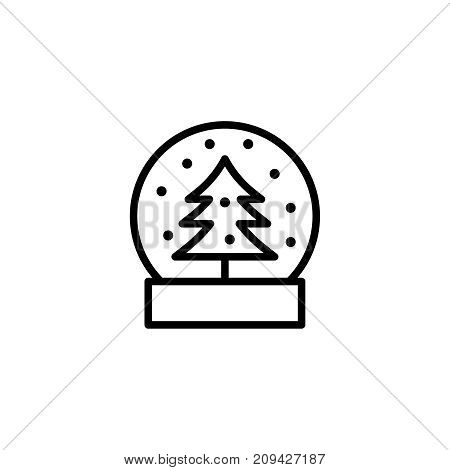 Snow globe flat icon. Single high quality outline symbol of christmas for web design or mobile app. Thin line signs of holiday for design logo, visit card, etc. Outline logo of celebration