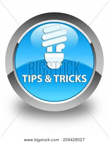 Tips And Tricks (bulb Icon) Glossy Cyan Blue Round Button
