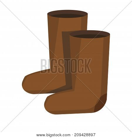 Pair of retro Russian style brown felt boots isolated cartoon flat vector illustration on white background. Warm and soft national winter old-fashioned footwear for very low temperature weather.