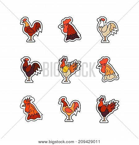 Rooster - symbol of the outgoing year vector icon set. Christmas and New Year theme.